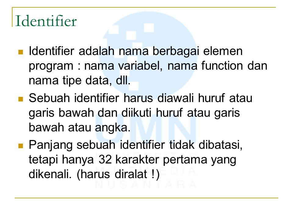 Identifier Identifier adalah nama berbagai elemen program : nama variabel, nama function dan nama tipe data, dll. Sebuah identifier harus diawali huru