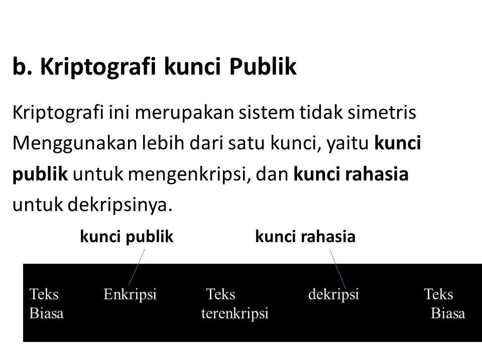 b. Kriptografi kunci Publik Kriptografi ini merupakan sistem tidak simetris Menggunakan lebih dari satu kunci, yaitu kunci publik untuk mengenkripsi,