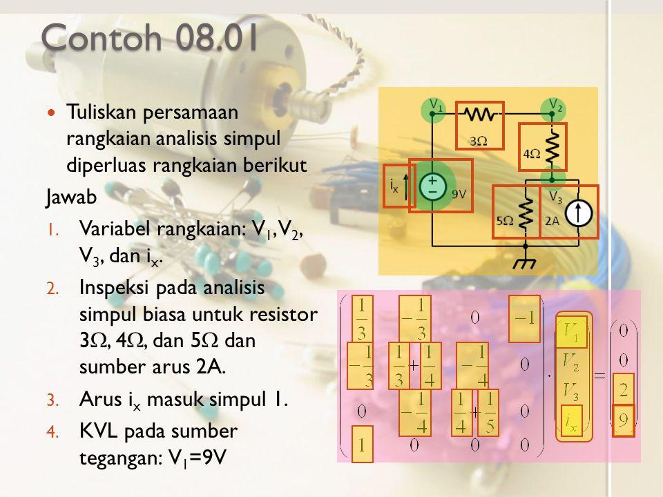Contoh 08.01 Tuliskan persamaan rangkaian analisis simpul diperluas rangkaian berikut Jawab 1. Variabel rangkaian: V 1, V 2, V 3, dan i x. 2. Inspeksi
