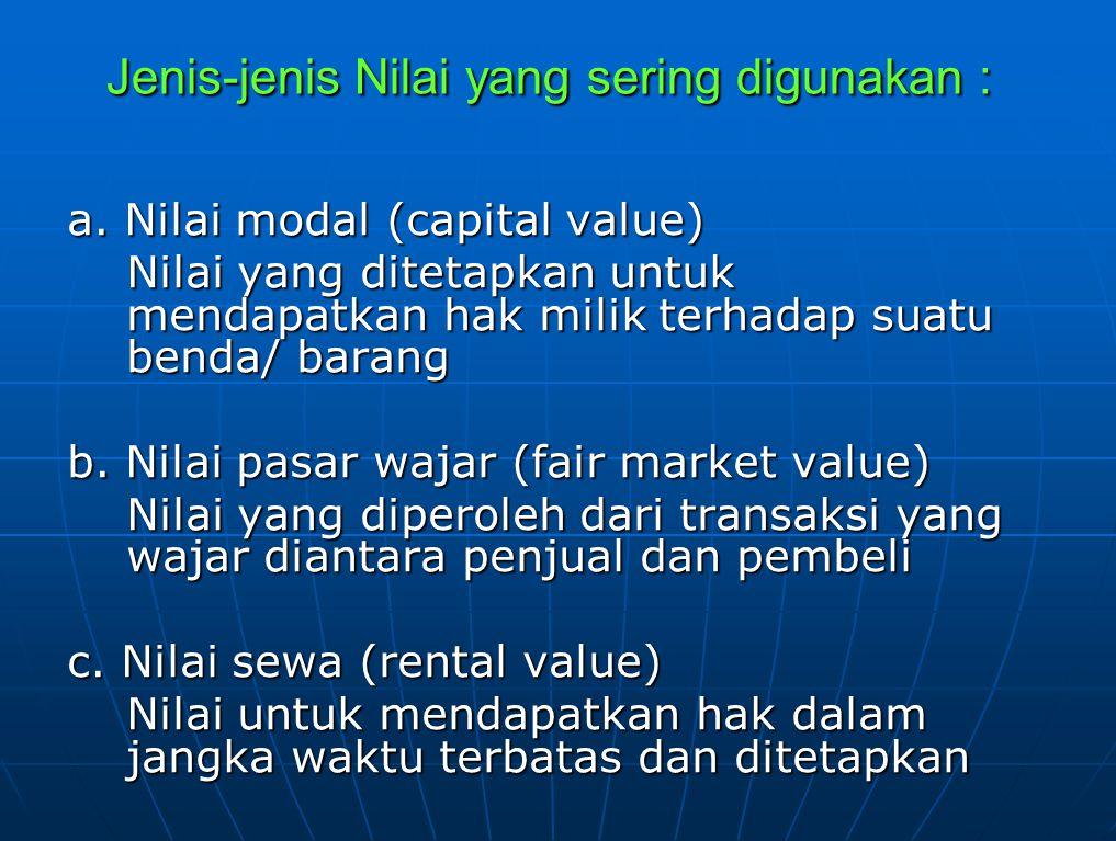Jenis-jenis Nilai yang sering digunakan : a. Nilai modal (capital value) Nilai yang ditetapkan untuk mendapatkan hak milik terhadap suatu benda/ baran