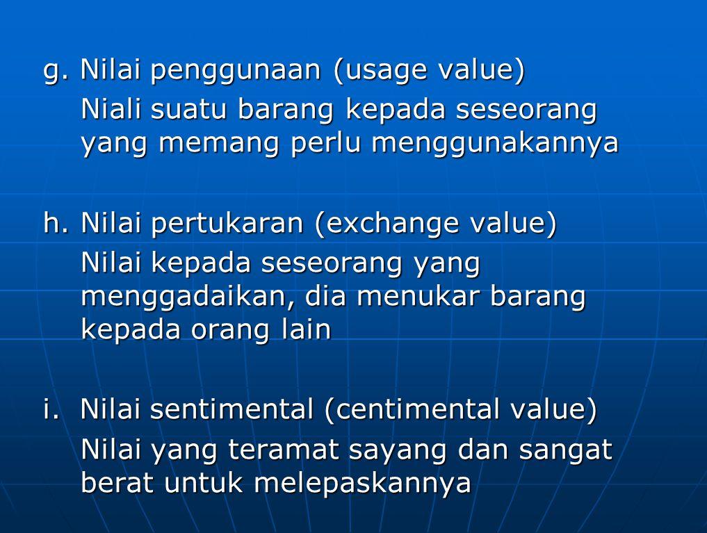 g. Nilai penggunaan (usage value) Niali suatu barang kepada seseorang yang memang perlu menggunakannya h. Nilai pertukaran (exchange value) Nilai kepa