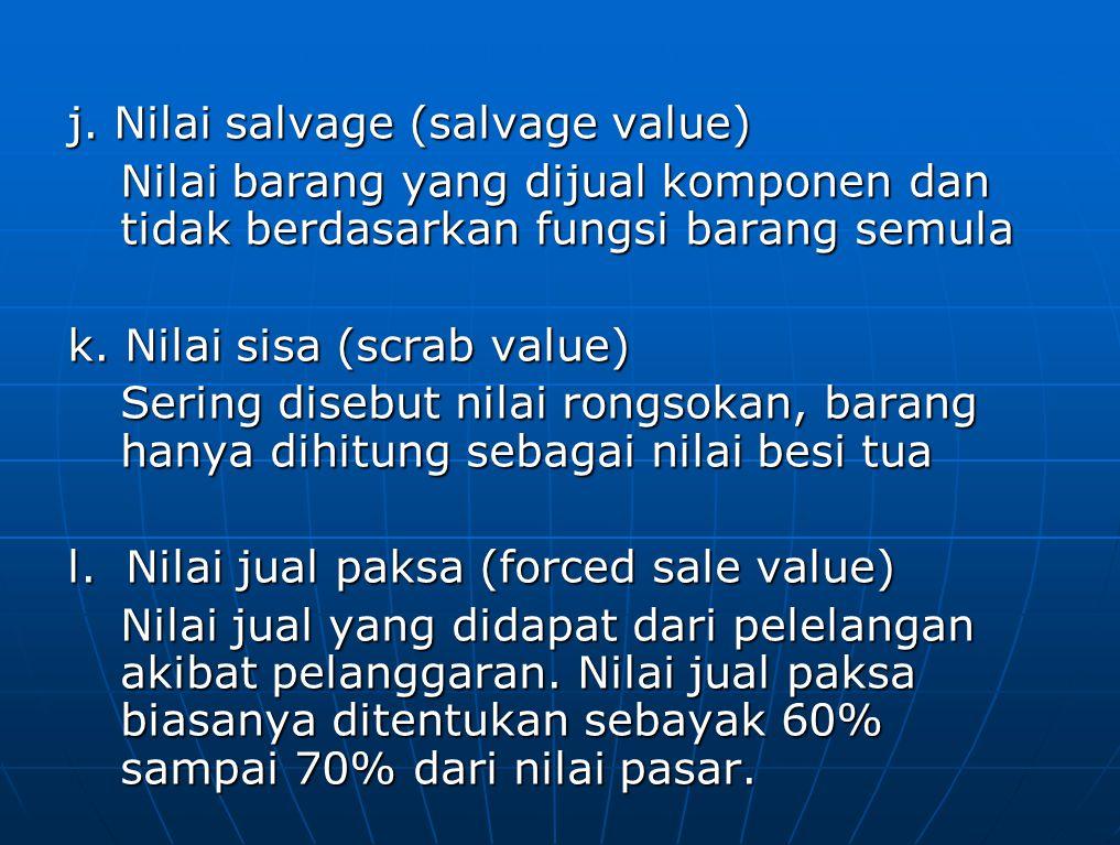 j. Nilai salvage (salvage value) Nilai barang yang dijual komponen dan tidak berdasarkan fungsi barang semula k. Nilai sisa (scrab value) Sering diseb