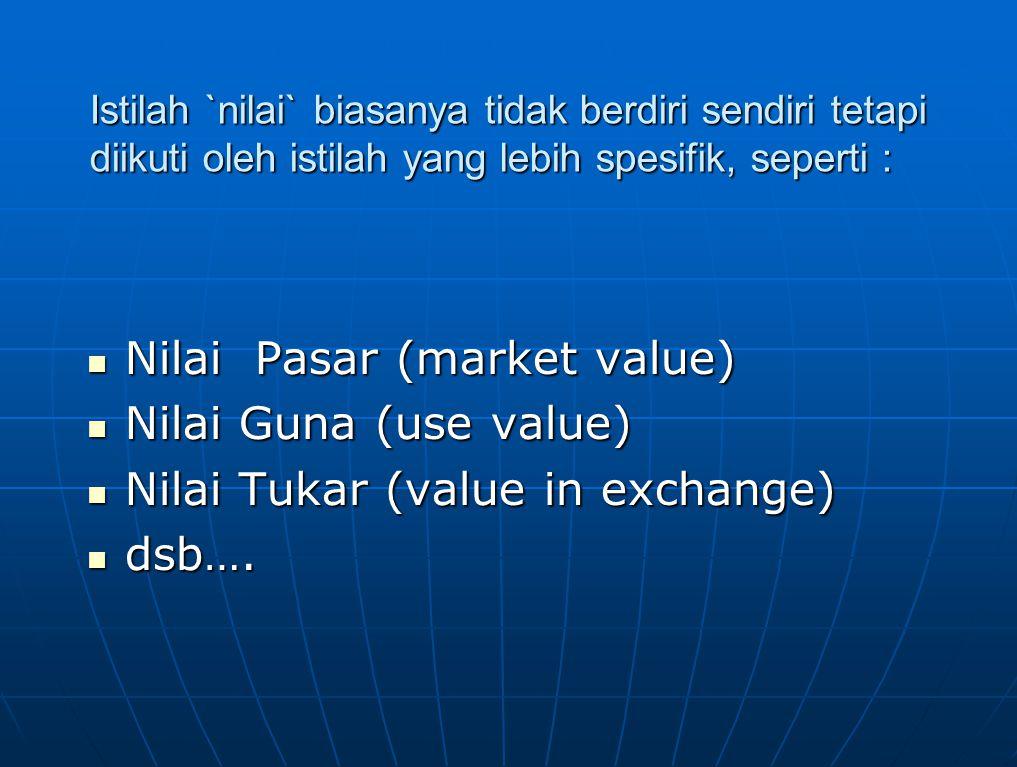 Istilah `nilai` biasanya tidak berdiri sendiri tetapi diikuti oleh istilah yang lebih spesifik, seperti : Nilai Pasar (market value) Nilai Pasar (mark