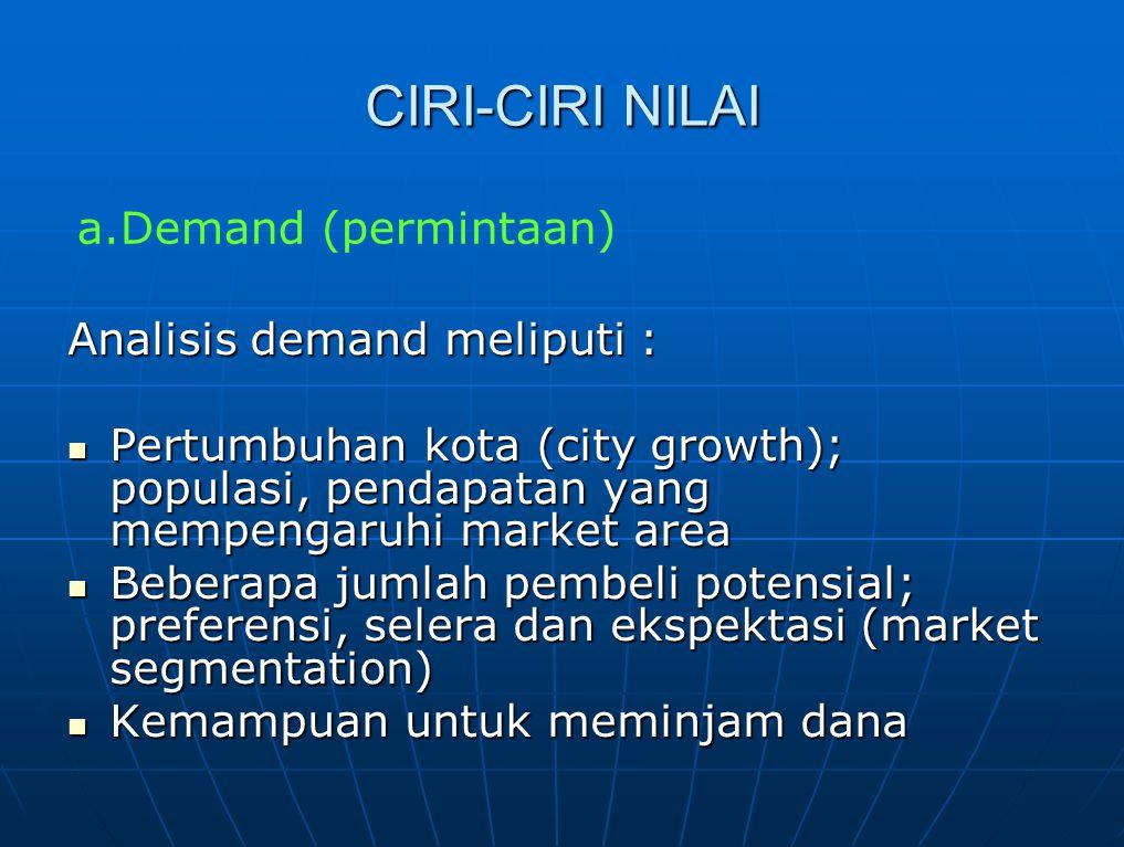 CIRI-CIRI NILAI Analisis demand meliputi : Pertumbuhan kota (city growth); populasi, pendapatan yang mempengaruhi market area Pertumbuhan kota (city g