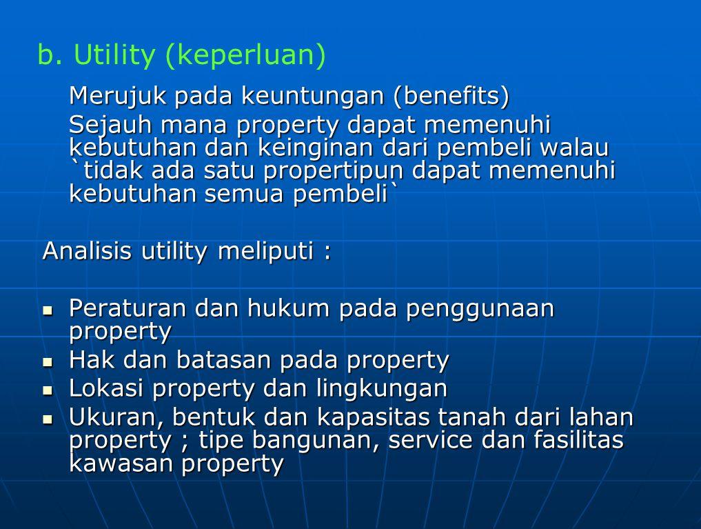 Merujuk pada keuntungan (benefits) Sejauh mana property dapat memenuhi kebutuhan dan keinginan dari pembeli walau `tidak ada satu propertipun dapat me