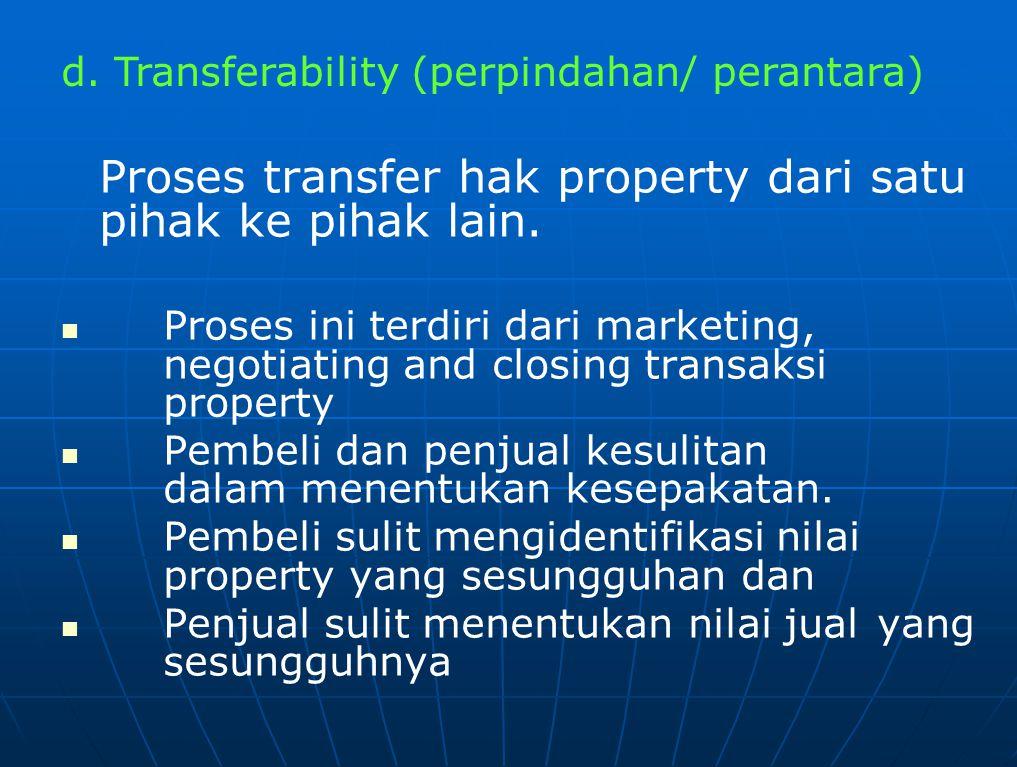 Hal yang perlu diperhatikan dalam Transferability, adalah : Peran calo/ broker dalam menentukan harga property Konsep promosi dan prinsip dalam mempertemukan titik temu antara pembeli dan penjual dalam proses negosiasi Tipe kontrak yang digunakan, apakah sewa, jual atau tukar Biaya transaksi pada transaksi berakhir.