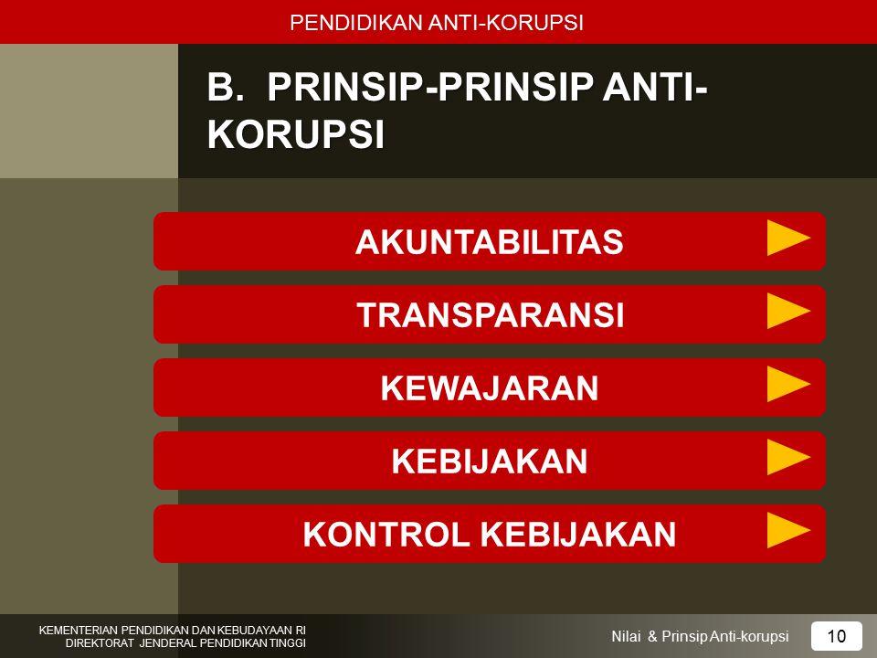 B. PRINSIP-PRINSIP ANTI- KORUPSI PENDIDIKAN ANTI-KORUPSI KEMENTERIAN PENDIDIKAN DAN KEBUDAYAAN RI DIREKTORAT JENDERAL PENDIDIKAN TINGGI 10 Nilai & Pri