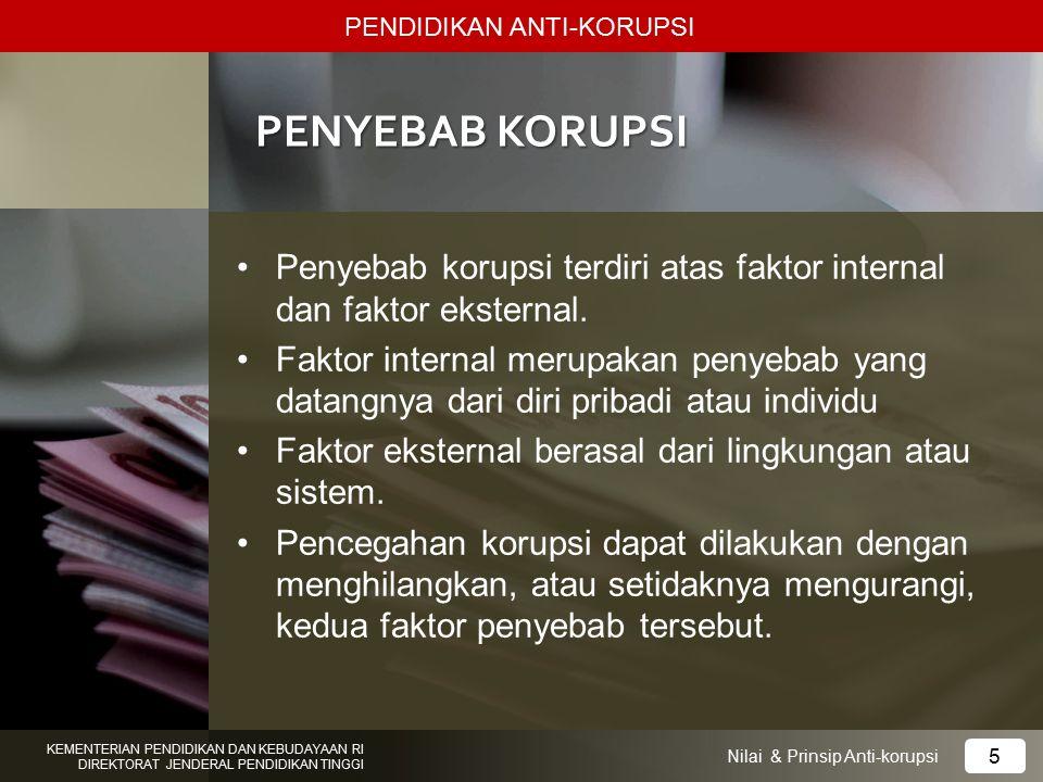 PENYEBAB KORUPSI Penyebab korupsi terdiri atas faktor internal dan faktor eksternal. Faktor internal merupakan penyebab yang datangnya dari diri priba