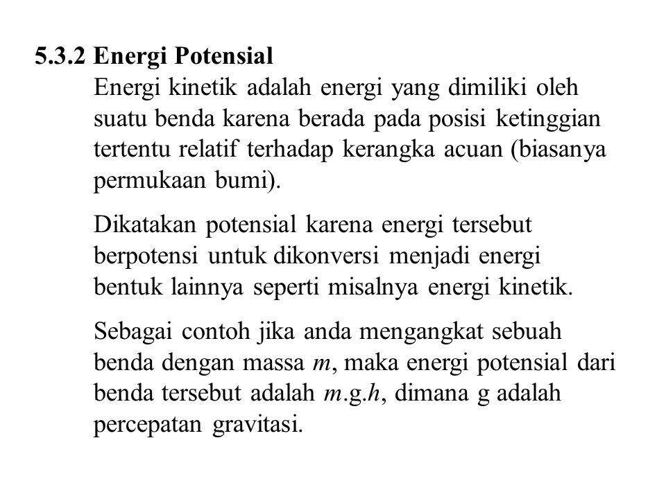 5.3.2 Energi Potensial Energi kinetik adalah energi yang dimiliki oleh suatu benda karena berada pada posisi ketinggian tertentu relatif terhadap kera