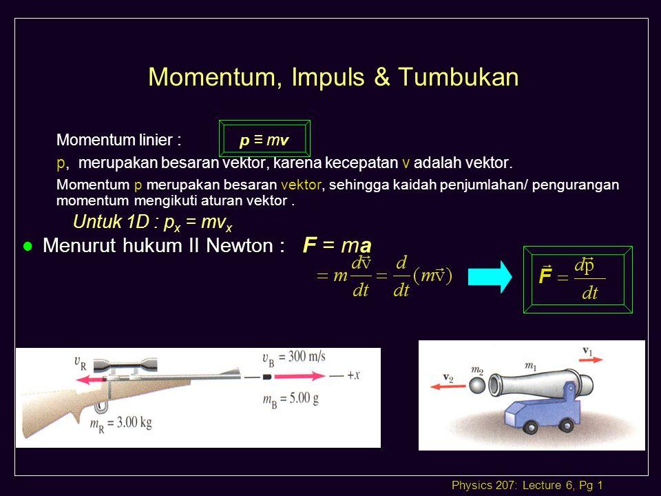 Physics 207: Lecture 6, Pg 1 Momentum, Impuls & Tumbukan pv Momentum linier : p ≡ mv p, merupakan besaran vektor, karena kecepatan v adalah vektor.