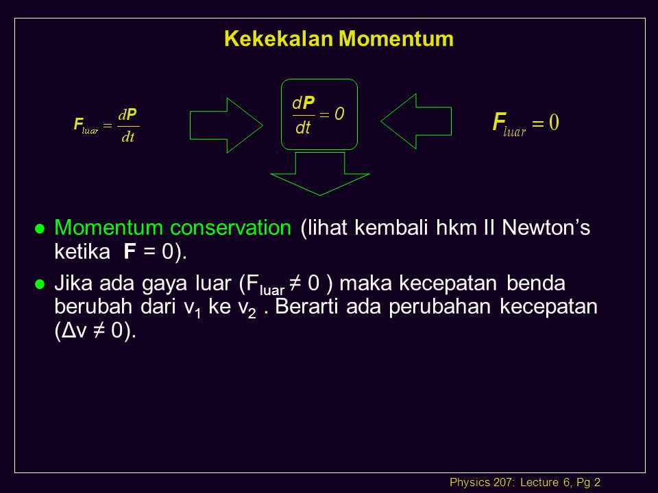 Physics 207: Lecture 6, Pg 3 IMPULS ( I = F Δt ) & perubahan momentum (Δp ) Fa Dari hukum II Newton : F = ma Atau := = = = Impuls didefinisikan sebagai hasil kali gaya dengan selang waktu gaya yang bekerja pada benda.