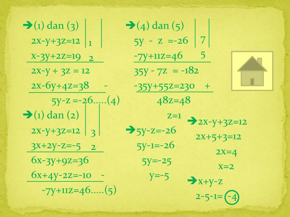 (1) dan (3) 2x-y+3z=12 x-3y+2z=19 2x-y + 3z = 12 2x-6y+4z=38 - 5y-z =-26.....(4)  (1) dan (2) 2x-y+3z=12 3x+2y-z=-5 6x-3y+9z=36 6x+4y-2z=-10 - -7y+