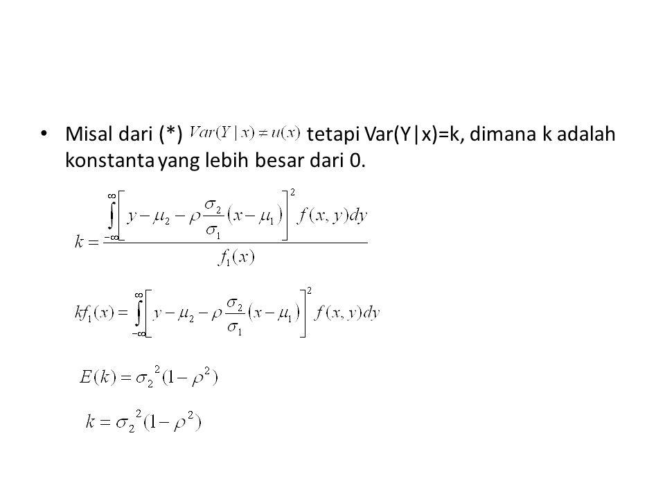 Misal dari (*) tetapi Var(Y|x)=k, dimana k adalah konstanta yang lebih besar dari 0.