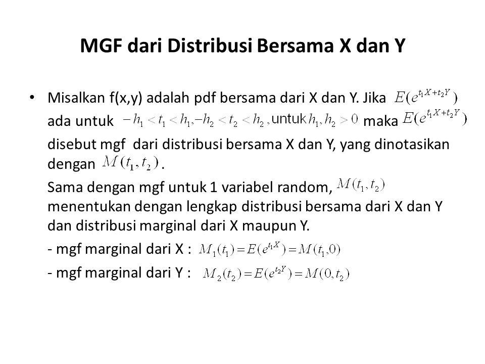MGF dari Distribusi Bersama X dan Y Misalkan f(x,y) adalah pdf bersama dari X dan Y. Jika ada untuk maka disebut mgf dari distribusi bersama X dan Y,