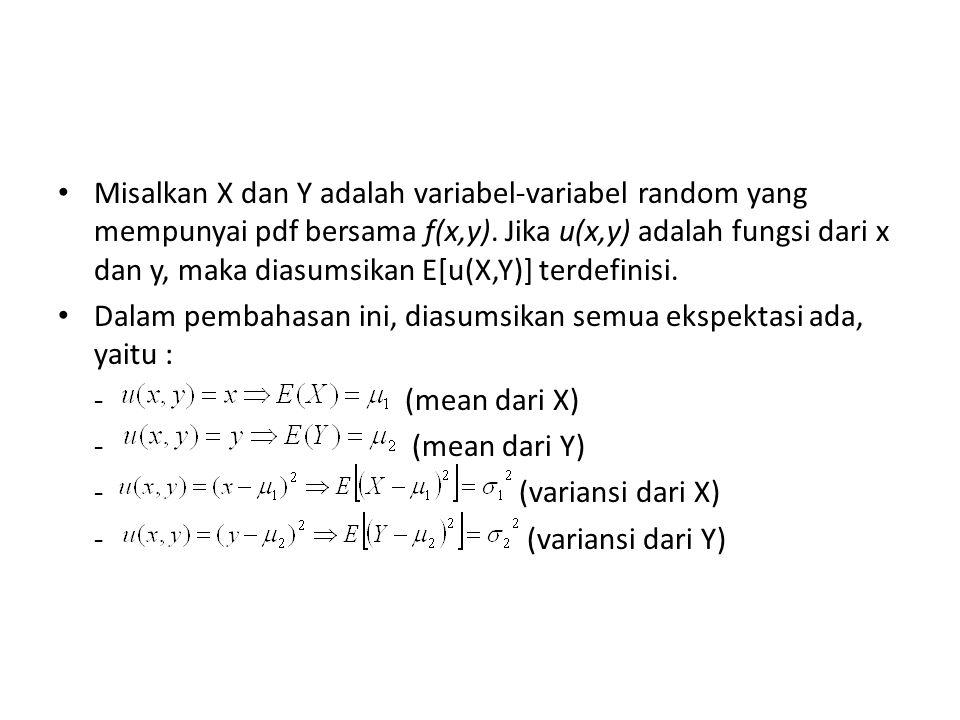 Perhatikan ekspektasi berikut: yang disebut kovariansi dari X dan Y. Notasi : Cov(X,Y)