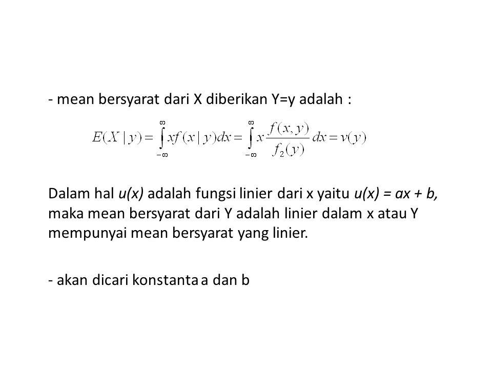 - mean bersyarat dari X diberikan Y=y adalah : Dalam hal u(x) adalah fungsi linier dari x yaitu u(x) = ax + b, maka mean bersyarat dari Y adalah linier dalam x atau Y mempunyai mean bersyarat yang linier.