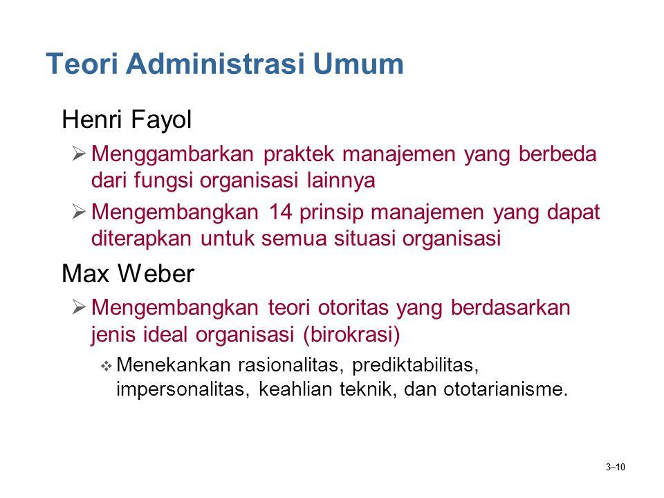 3–10 Teori Administrasi Umum Henri Fayol  Menggambarkan praktek manajemen yang berbeda dari fungsi organisasi lainnya  Mengembangkan 14 prinsip mana