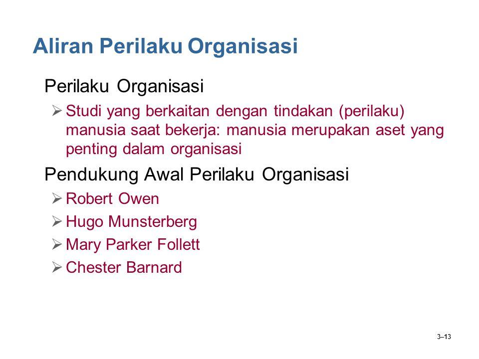 3–13 Aliran Perilaku Organisasi Perilaku Organisasi  Studi yang berkaitan dengan tindakan (perilaku) manusia saat bekerja: manusia merupakan aset yan