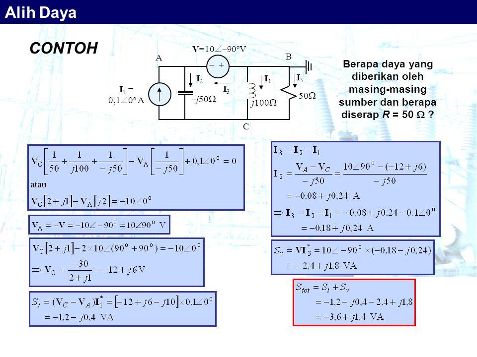 CONTOH 50    I 1 = 0,1  0 o A V=10  90 o V  j50  j100  I3 I3 B A C I2 I2 I4 I4 I5 I5 Berapa daya yang diberikan oleh masing-masing sumber dan