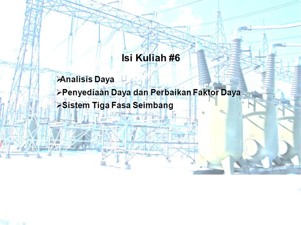 Im Re jQ beban (induktif)  jQ kapasitor P beban kVA beban tanpa kapasitor kVA beban dengan kapasitor Perbaikan faktor daya dilakukan pada beban induktif dengan menambahkan kapasitor yang diparalel dengan beban, sehingga daya reaktif yang harus diberikan oleh sumber menurun tetapi daya rata-rata yang diperlukan beban tetap dipenuhi Daya yang harus diberikan oleh sumber kepada beban turun dari |S| menjadi |S 1 |.