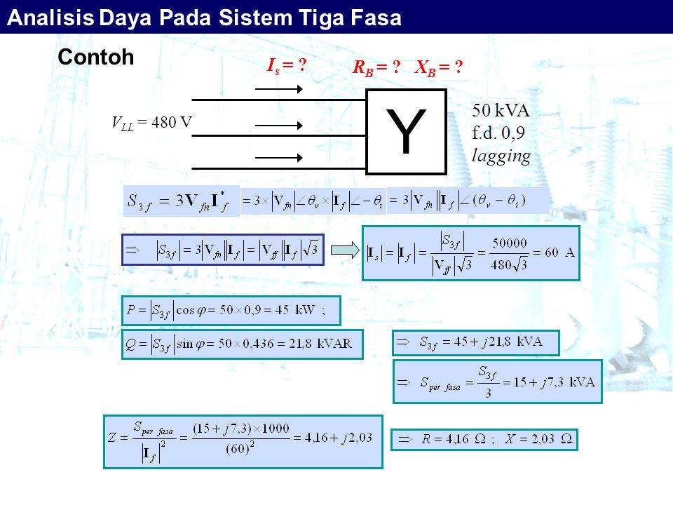 Contoh Y 50 kVA f.d. 0,9 lagging V LL = 480 V I s = ? R B = ? X B = ? Analisis Daya Pada Sistem Tiga Fasa