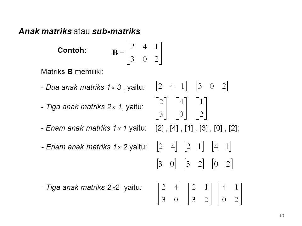 Anak matriks atau sub-matriks - Dua anak matriks 1  3, yaitu: - Tiga anak matriks 2  1, yaitu: - Enam anak matriks 1  1 yaitu: [2], [4], [1], [3], [0], [2]; - Enam anak matriks 1  2 yaitu: - Tiga anak matriks 2  2 yaitu: Contoh: Matriks B memiliki: 10