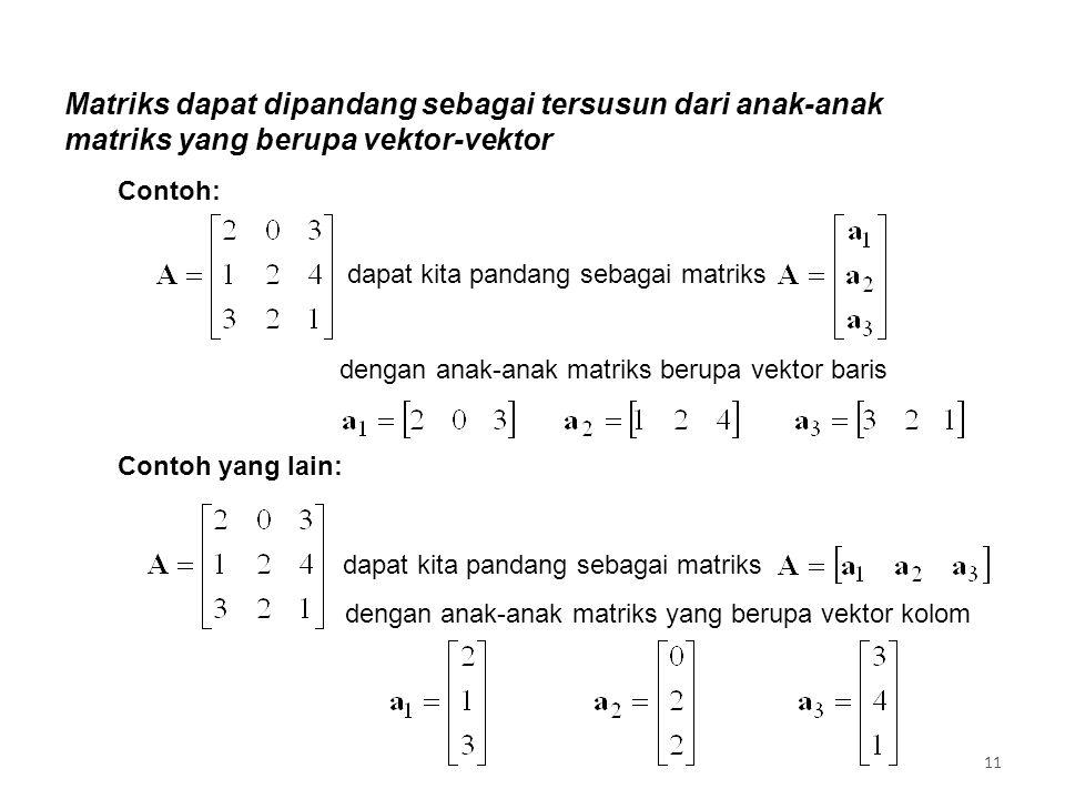 Matriks dapat dipandang sebagai tersusun dari anak-anak matriks yang berupa vektor-vektor dapat kita pandang sebagai matriks dengan anak-anak matriks berupa vektor baris dapat kita pandang sebagai matriks dengan anak-anak matriks yang berupa vektor kolom Contoh: Contoh yang lain: 11