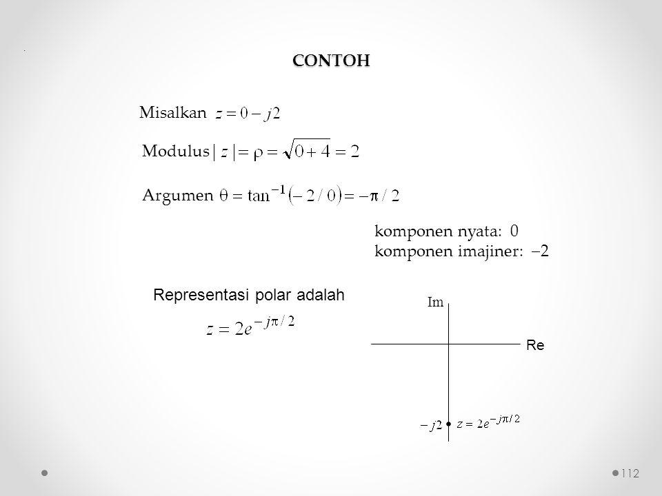 CONTOH Misalkan Modulus Argumen komponen nyata: 0 komponen imajiner:  2 Representasi polar adalah. Re Im 112