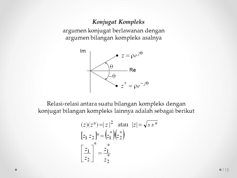 Konjugat Kompleks argumen konjugat berlawanan dengan argumen bilangan kompleks asalnya Re Im Relasi-relasi antara suatu bilangan kompleks dengan konjugat bilangan kompleks lainnya adalah sebagai berikut 115