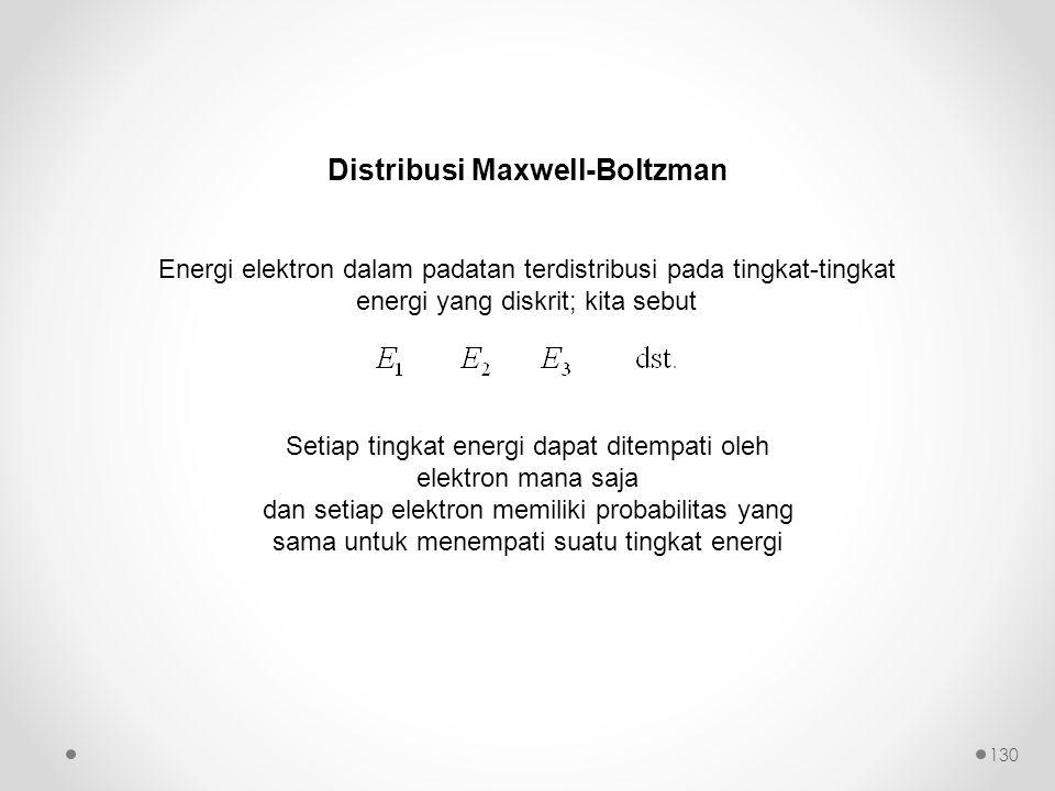 Distribusi Maxwell-Boltzman Setiap tingkat energi dapat ditempati oleh elektron mana saja dan setiap elektron memiliki probabilitas yang sama untuk menempati suatu tingkat energi Energi elektron dalam padatan terdistribusi pada tingkat-tingkat energi yang diskrit; kita sebut 130