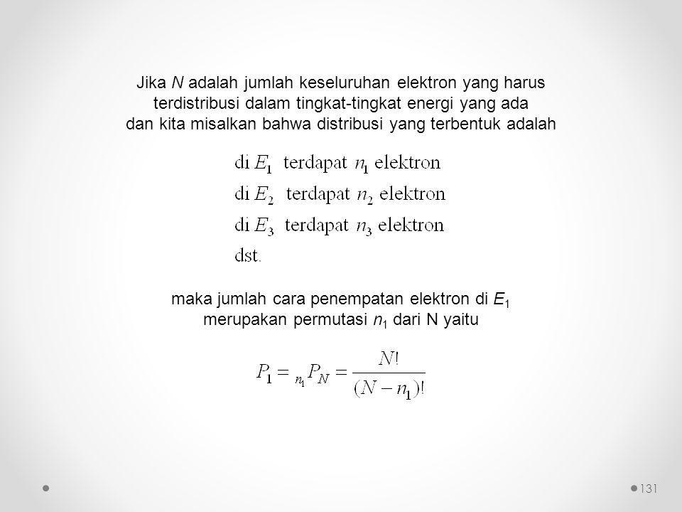 Jika N adalah jumlah keseluruhan elektron yang harus terdistribusi dalam tingkat-tingkat energi yang ada dan kita misalkan bahwa distribusi yang terbentuk adalah maka jumlah cara penempatan elektron di E 1 merupakan permutasi n 1 dari N yaitu 131