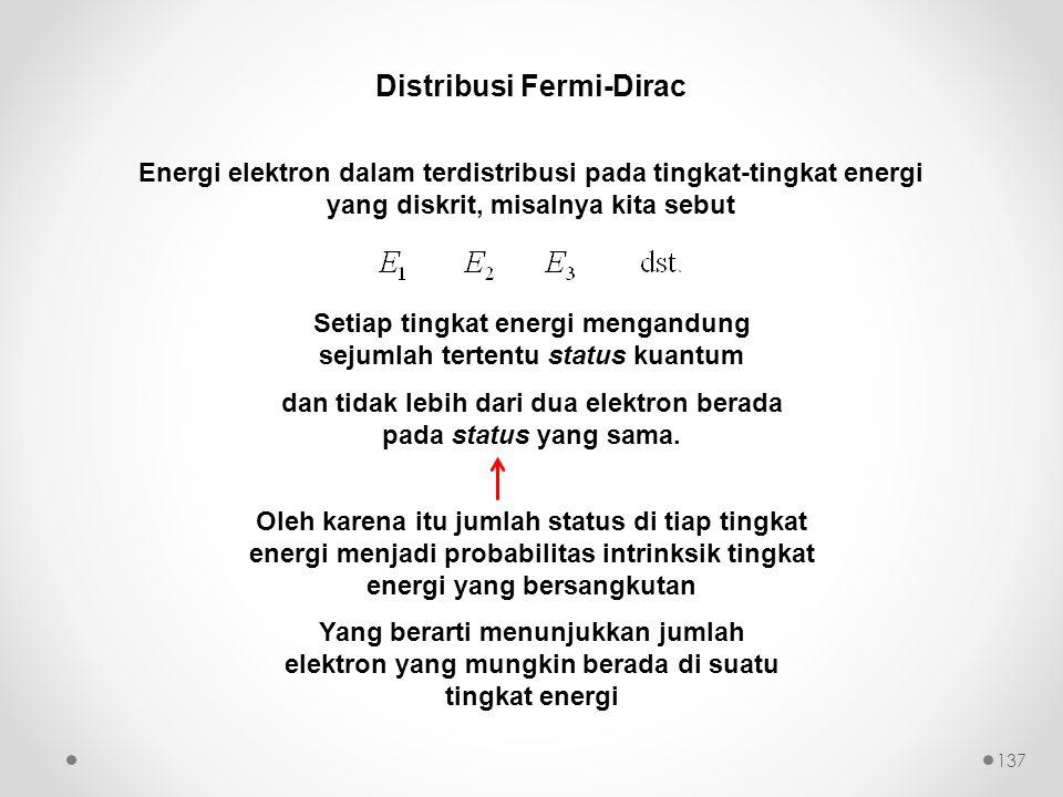 Distribusi Fermi-Dirac Energi elektron dalam terdistribusi pada tingkat-tingkat energi yang diskrit, misalnya kita sebut Setiap tingkat energi mengand