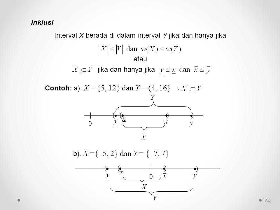 Inklusi Interval X berada di dalam interval Y jika dan hanya jika atau jika dan hanya jika Contoh: a).