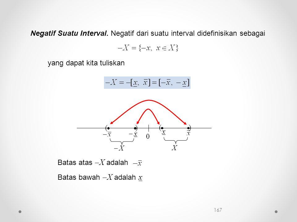 Negatif Suatu Interval. Negatif dari suatu interval didefinisikan sebagai yang dapat kita tuliskan 0 ( x ) X )  x x (  X Batas atas  X adalah Bata