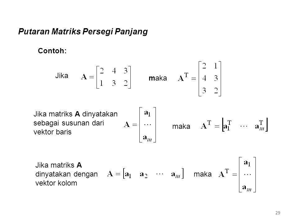 Contoh: Putaran Matriks Persegi Panjang Jika maka Jika matriks A dinyatakan sebagai susunan dari vektor baris maka Jika matriks A dinyatakan dengan vektor kolom maka 29