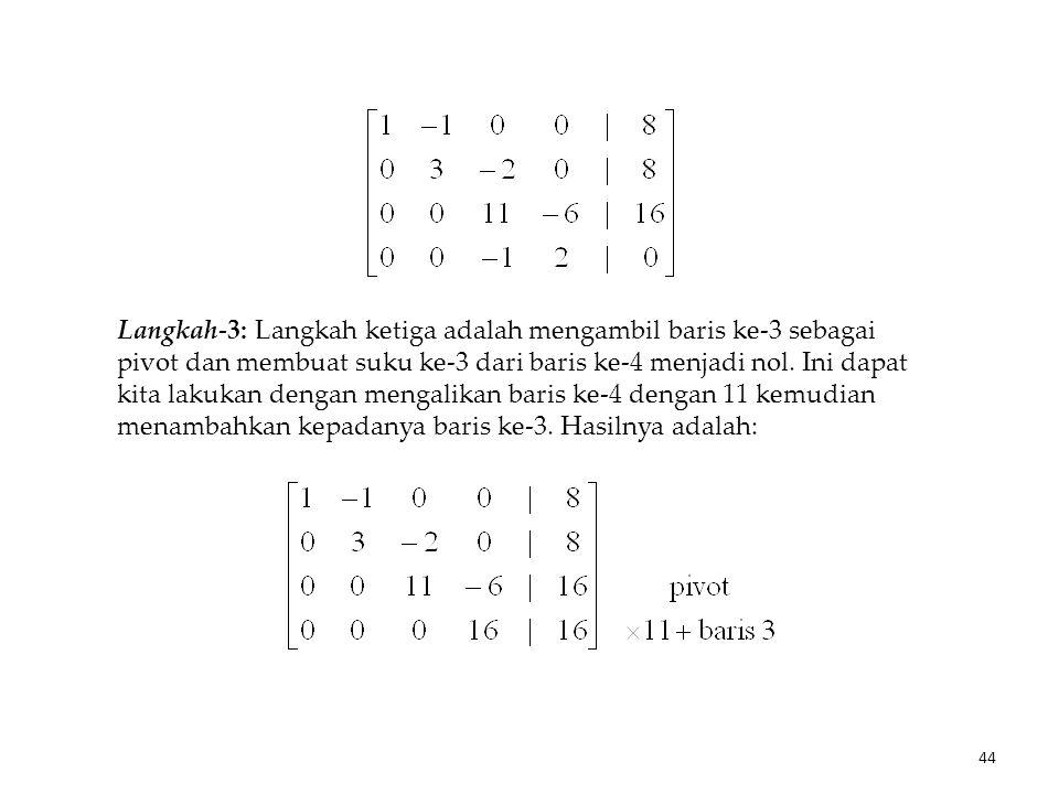 Langkah-3: Langkah ketiga adalah mengambil baris ke-3 sebagai pivot dan membuat suku ke-3 dari baris ke-4 menjadi nol. Ini dapat kita lakukan dengan m