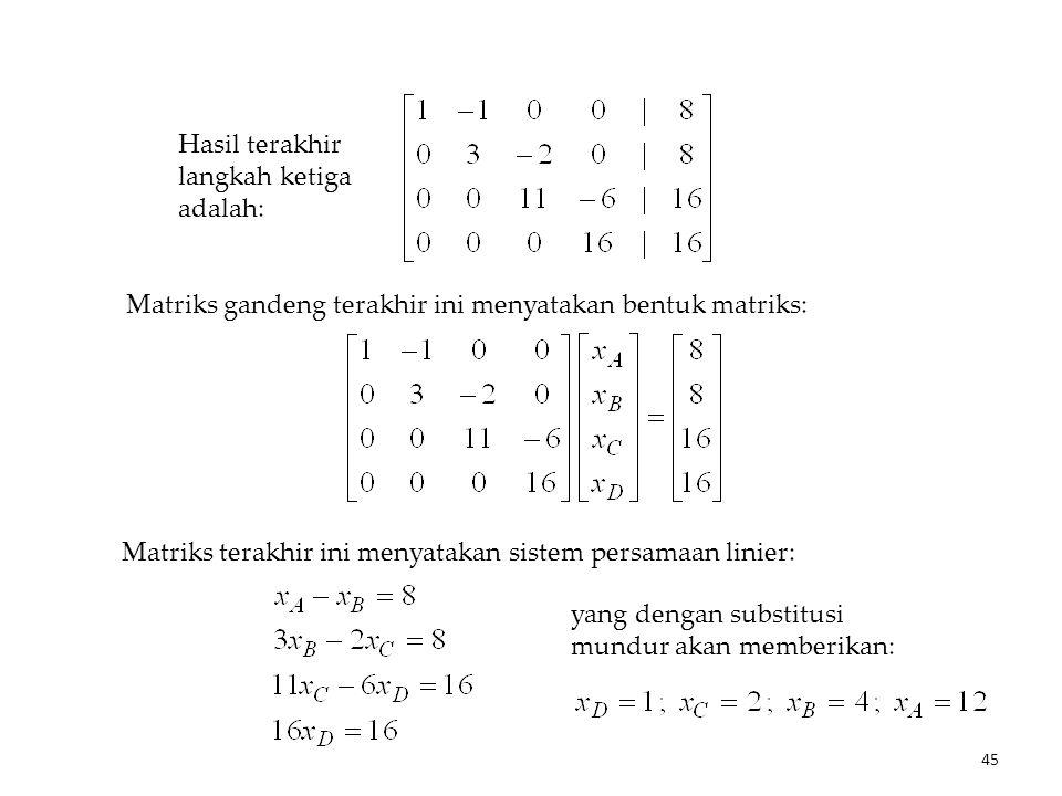 Matriks gandeng terakhir ini menyatakan bentuk matriks: yang dengan substitusi mundur akan memberikan: Hasil terakhir langkah ketiga adalah: Matriks terakhir ini menyatakan sistem persamaan linier: 45