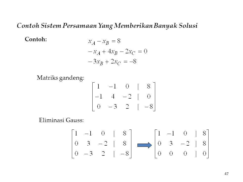 Contoh Sistem Persamaan Yang Memberikan Banyak Solusi Matriks gandeng: Eliminasi Gauss: Contoh: 47