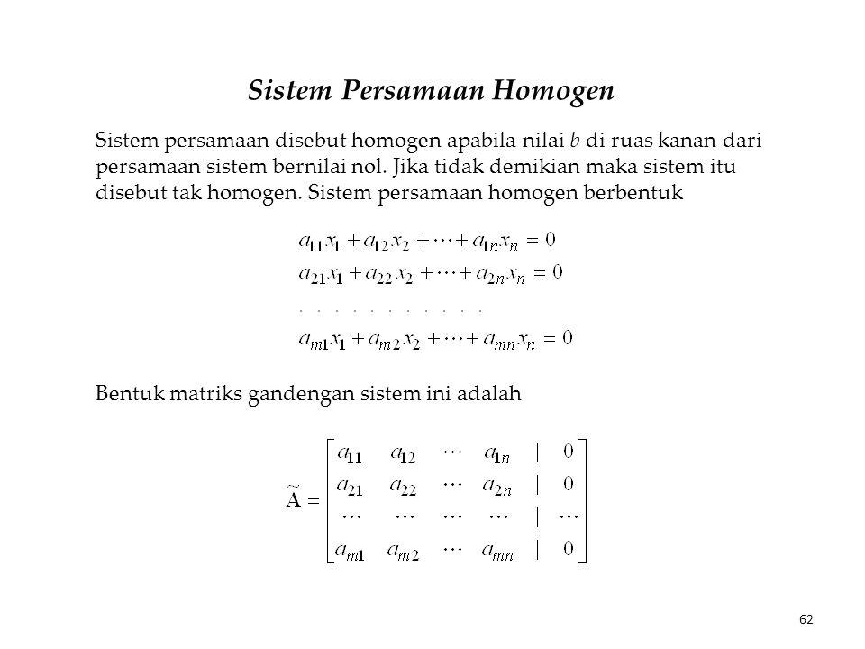 Sistem Persamaan Homogen Sistem persamaan disebut homogen apabila nilai b di ruas kanan dari persamaan sistem bernilai nol. Jika tidak demikian maka s