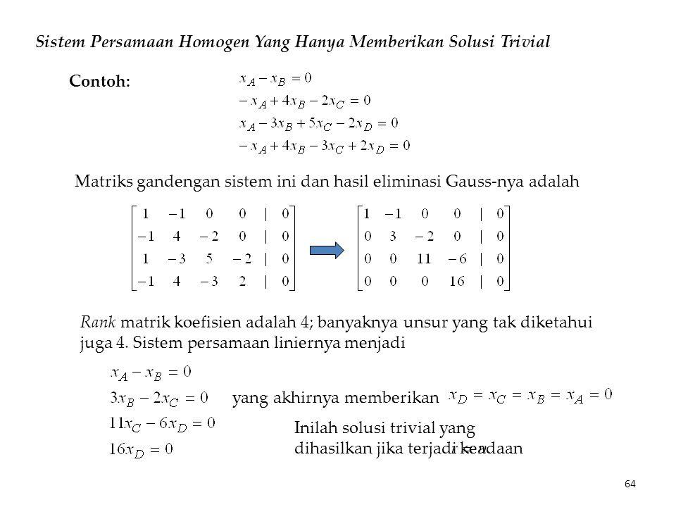 Sistem Persamaan Homogen Yang Hanya Memberikan Solusi Trivial Matriks gandengan sistem ini dan hasil eliminasi Gauss-nya adalah Rank matrik koefisien