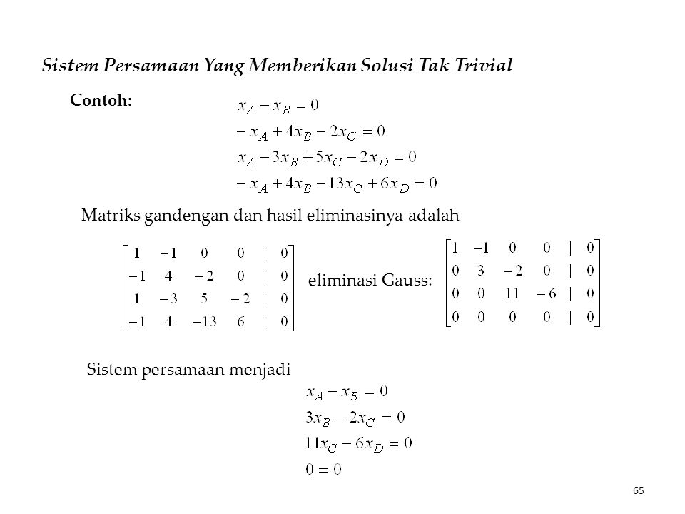 Sistem Persamaan Yang Memberikan Solusi Tak Trivial Matriks gandengan dan hasil eliminasinya adalah Contoh: eliminasi Gauss: Sistem persamaan menjadi 65