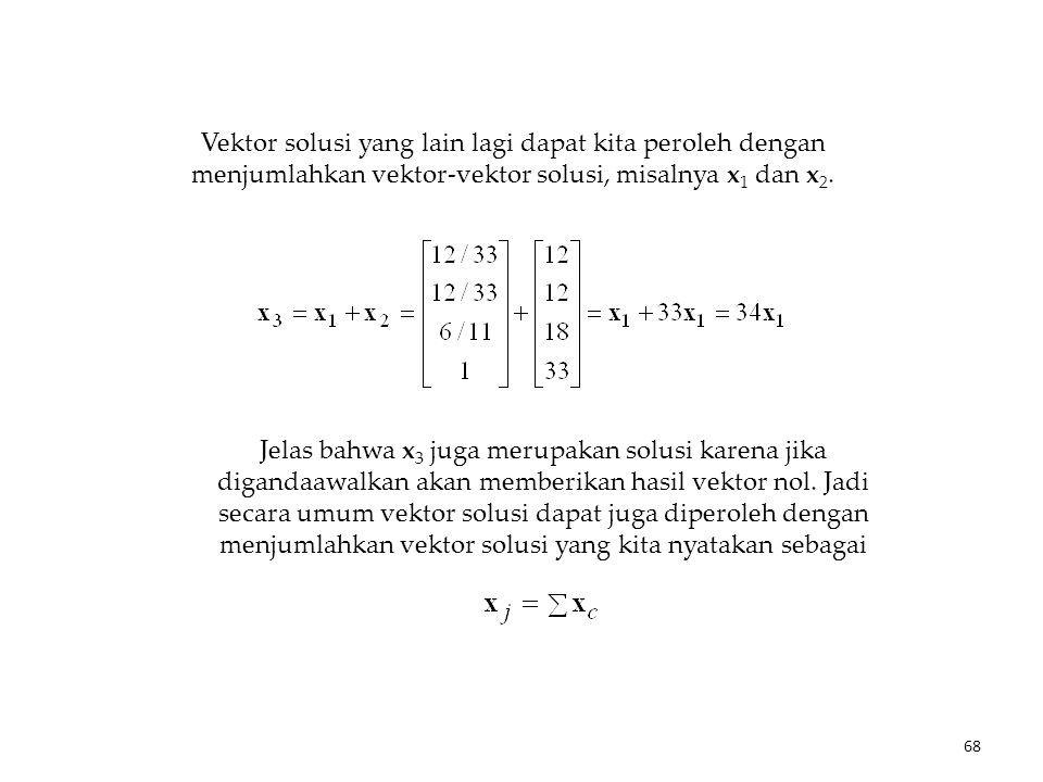 Vektor solusi yang lain lagi dapat kita peroleh dengan menjumlahkan vektor-vektor solusi, misalnya x 1 dan x 2.