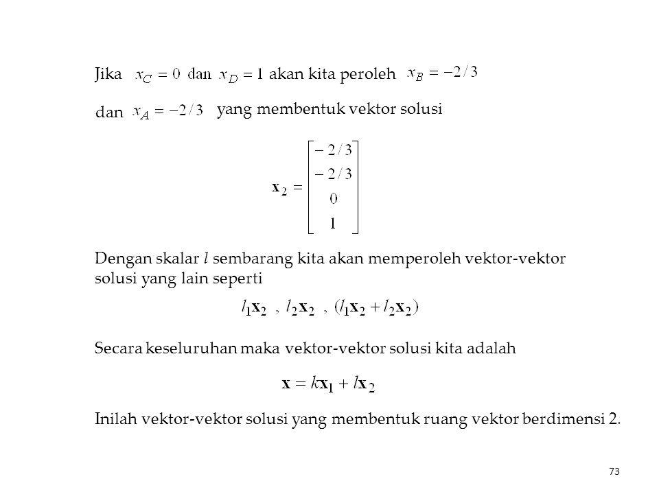 Jika akan kita peroleh dan yang membentuk vektor solusi Dengan skalar l sembarang kita akan memperoleh vektor-vektor solusi yang lain seperti Secara keseluruhan maka vektor-vektor solusi kita adalah Inilah vektor-vektor solusi yang membentuk ruang vektor berdimensi 2.
