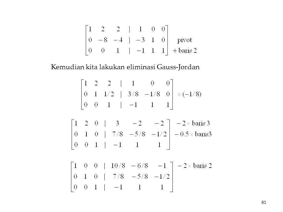 Kemudian kita lakukan eliminasi Gauss-Jordan 81