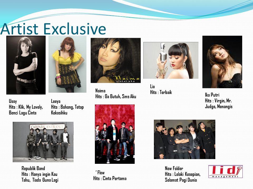 Artist Exclusive Ussy Hits : Klik, My Lovely, Benci Lagu Cinta Leeya Hits : Bohong, Tetap Kekasihku Ika Putri Hits : Virgin, Mr. Judge, Menangis Lia H