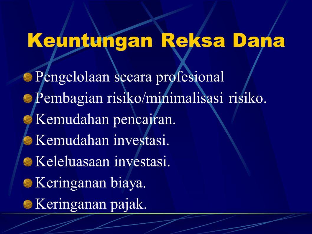 Keuntungan Reksa Dana Pengelolaan secara profesional Pembagian risiko/minimalisasi risiko. Kemudahan pencairan. Kemudahan investasi. Keleluasaan inves