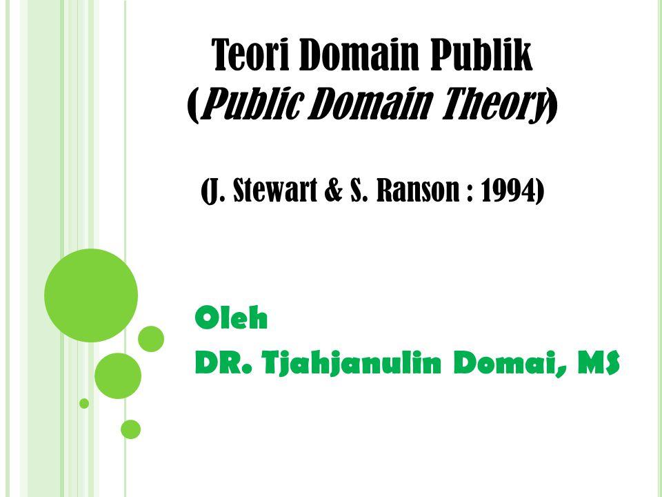 Oleh DR.Tjahjanulin Domai, MS Teori Domain Publik (Public Domain Theory) (J.