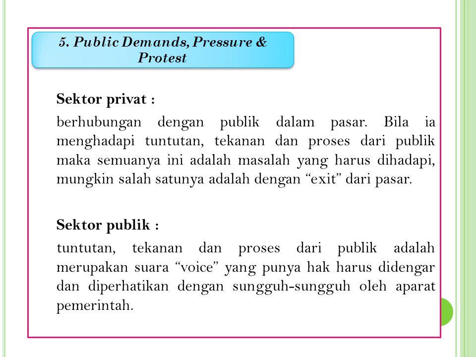 Sektor privat :  akuntabilitasnya ada di pasar Sektor publik :  akuntabilitas lebih luas dan mendalam yaitu bertanggung jawab pada publik secara lua