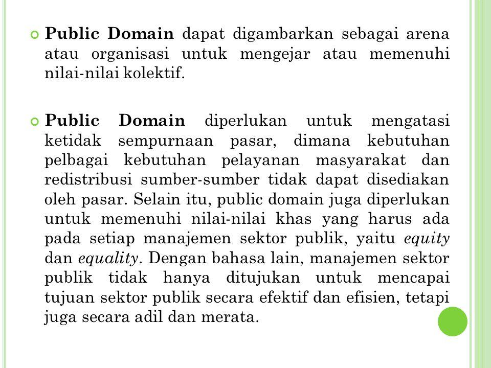 Public Domain dapat digambarkan sebagai arena atau organisasi untuk mengejar atau memenuhi nilai-nilai kolektif.