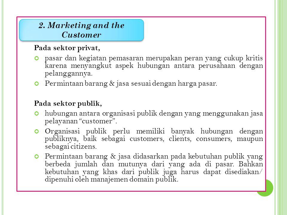 Pada sektor privat, pasar dan kegiatan pemasaran merupakan peran yang cukup kritis karena menyangkut aspek hubungan antara perusahaan dengan pelanggannya.